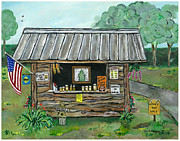 Farm Stand Painting Prints - Honey for Sale Print by Sandie Keyser