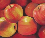 Red Art Pastels Framed Prints - Honeycrisp Apples Framed Print by Anastasiya Malakhova
