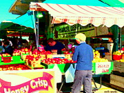 Fruit Stand Paintings - Honeycrisp Apples Fruit Stand Marcel Les Pommes St Joseph Du Lac  Food Art Scenes Carole Spandau by Carole Spandau