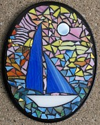 Sailing Glass Art - Honeymoon Cruise by Kathleen Luther