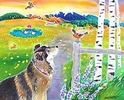 Dog Art Paintings - Honeys World by Harriet Peck Taylor
