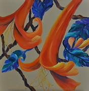 Vines Paintings - Honeysuckle Harmony by Lynn Rattray