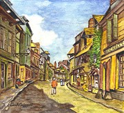 Old Masters Mixed Media Posters - Honfleur France La Rue de La Bouille after Monet  Poster by Carol Wisniewski