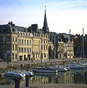The Houses Framed Prints - Honfleur Harbour. Calvados. Normandy. France. Europe Framed Print by Bernard Jaubert