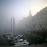 Boats In Harbor Prints - Honfleur Harbour in fog. Calvados. Normandy. France. Europe Print by Bernard Jaubert