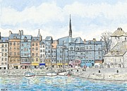 Peter Farrow Metal Prints - Honfleur Harbour - Normandy Metal Print by Peter Farrow