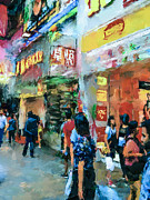 Live Art Digital Art Prints - Hong Kong Around Nathan Road Print by Yury Malkov