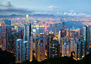 City Tapestries Textiles - Hong Kong at Dusk by David Bowman