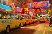 Nathan Road Framed Prints - Hong Kong at Night Framed Print by Colin Woods