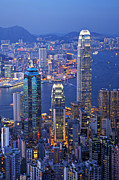 Building Art - Hong Kong at Twilight Vertical by Colin and Linda McKie