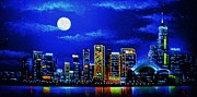 City Skylines Paintings - Hong Kong by black light by Thomas Kolendra