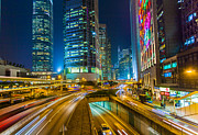 Hong Kong Art - Hong Kong Highway at Night by Fototrav Print