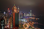 Hong Kong Framed Prints - Hong Kong Island Framed Print by Lars Ruecker