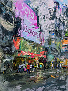 Hong Kong Digital Art Metal Prints - Hong Kong Nathan Road Mess Metal Print by Yury Malkov