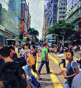 Hong Kong Digital Art Prints - Hong Kong Nathan Road Print by Yury Malkov