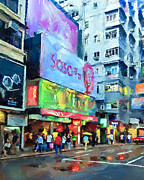 Hong Kong Digital Art Prints - Hong Kong Near Nathan Road Print by Yury Malkov