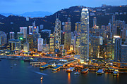 Hong Kong Posters - Hong Kong Skyline at Night Poster by Lars Ruecker