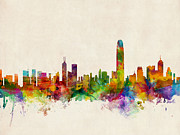 Watercolor Digital Art Posters - Hong Kong Skyline Poster by Michael Tompsett