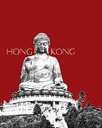Hong Kong Skyline Tian Tan Buddha - Dark Red Print by DB Artist