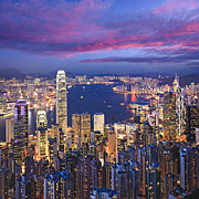 Hong Kong Tapestries Textiles - Hong Kong Skyline Twilight Square by Colin and Linda McKie