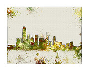 Boston Skyline Paintings - Hong Kong Skyline by WaterColorMaps Chris and Mary Ann