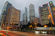 Hong Kong Metal Prints - Hong Kongs Financial Center Metal Print by Lars Ruecker