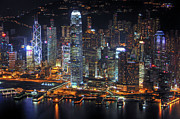 Hong Kong Metal Prints - Hong Kongs Skyline at Night Metal Print by Lars Ruecker