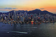 Arial View Art - Hong Kongs Skyline during a beautiful Sunset by Lars Ruecker