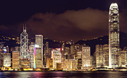 Matsu Framed Prints - Hongkong Night skylines - high detail Framed Print by Hakai Matsu
