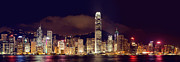 Matsu Framed Prints - Hongkong Night Skylines Panorama  Framed Print by Hakai Matsu