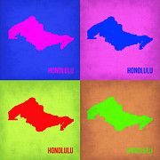 World Map Digital Art Metal Prints - Honolulu Pop Art Map 1 Metal Print by Irina  March