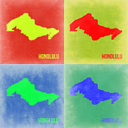 World Map Digital Art Metal Prints - Honolulu Pop Art Map 2 Metal Print by Irina  March