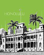 Honolulu Skyline Iolani Palace - Olive Print by DB Artist