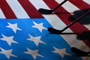 Hockey Painting Originals - Honoring America by Marlon Huynh