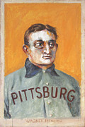 Baseball Card Paintings - Honus by Kurt Riemersma