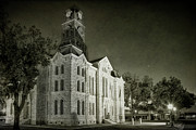 Town Center Prints - Hood County Courthouse Print by Joan Carroll