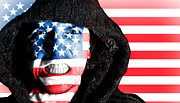 Soccer Sport Prints - Hooded angry man with American flag design on face Print by Fizzy Image