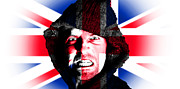 Soccer Sport Prints - Hooded angry man with british union flag design on face Print by Fizzy Image
