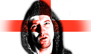 Soccer Sport Prints - Hooded angry man with English flag design on face Print by Fizzy Image