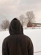 Edward Fielding - Hooded boy at farm in winter