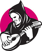 Playing Digital Art Prints - Hooded Man Playing Banjo Guitar Print by Aloysius Patrimonio
