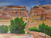 Moab Painting Prints - Hoodoo Road near Moab Print by Sally Jones