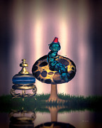 Humor Digital Art Prints - Hookah and the magic mushroom Print by Bob Orsillo
