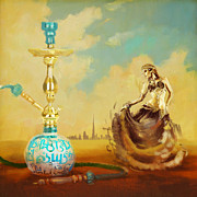Featured Painting Originals - Hookah Bar by Corporate Art Task Force