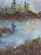 Hooked At Dawn On The Alsea Print by Meldra Driscoll