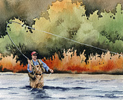 Fly Fishing Art Print Posters - Hooked Up Poster by David Rogers