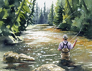 Fly Fishing Art Print Posters - Hooked Up II Poster by David Rogers