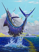 White Marlin Painting Posters - Hooked Up Off004 Poster by Carey Chen