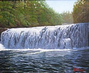 Waterfalls Paintings - Hooker Falls by Joseph Kotowski