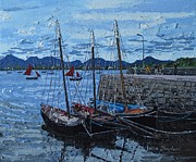 Connemara Paintings - Hookers roundstone harbour Connemara Co galway Ireland by Diana Shephard